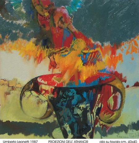 Umberto Leonetti, 1987, 'Proiezione dell'Athanor', olio su tavola, cm 40x40