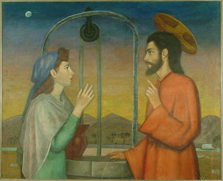 Francesco Speranza , Cristo e la Samaritana presso il pozzo, 1952, tempera su tavola