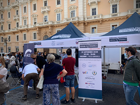 Gazebo screening Covid-19 Epatite C Salerno