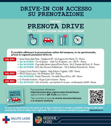Coronavirus Lazio, prenotazione drive-in per tamponi