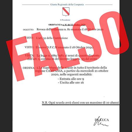 Covid-19 Campania fake news ordinanza n.81 del 18 ottobre 2020