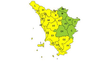 Regione Toscana Codice giallo 14 e 15 ottobre 2020