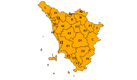 Regione Toscana allerta arancione