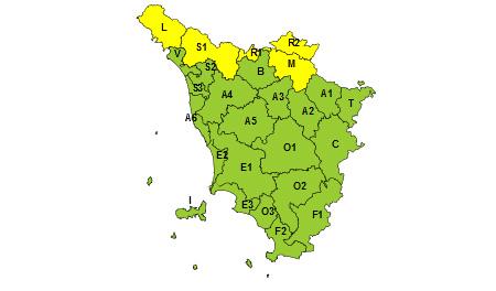 Toscana, codice giallo 1° dicembre 2020