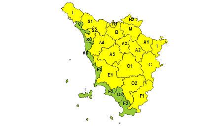 Regione Toscana codice giallo 18-01-2021
