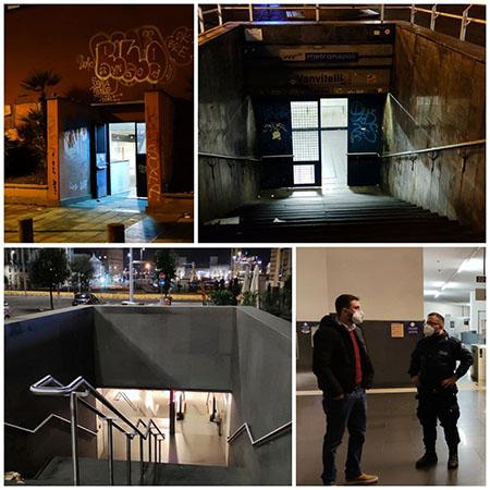 Sopralluogo notturno stazioni metro Napoli aperte per piano anti-freddo