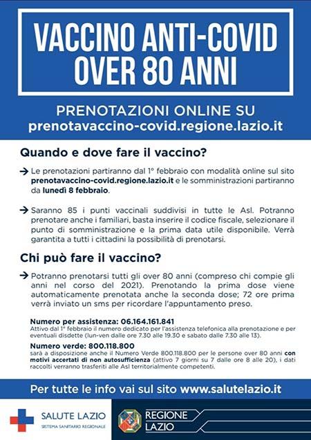 Vaccino anti-Covid over 80 in Lazio