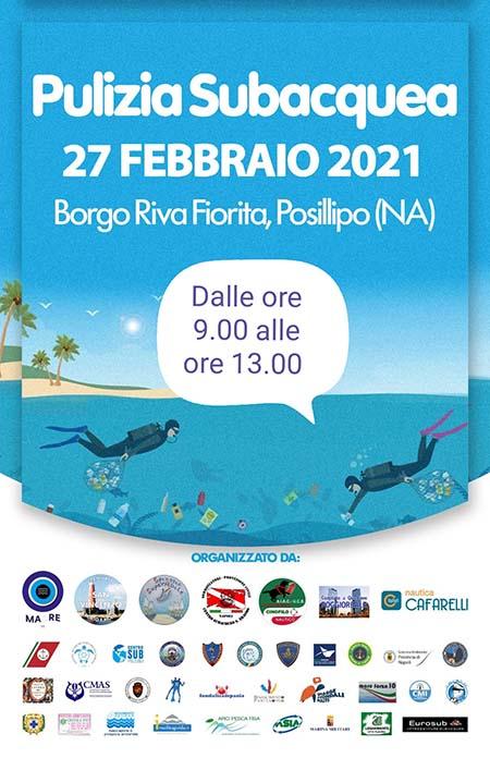 Pulizia subacquea Riva Fiorita a Napoli 2021