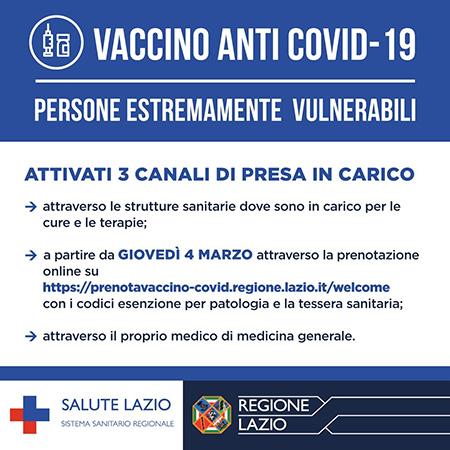 Lazio vaccino anti Covid-19 soggetti estremamente vulnerabili