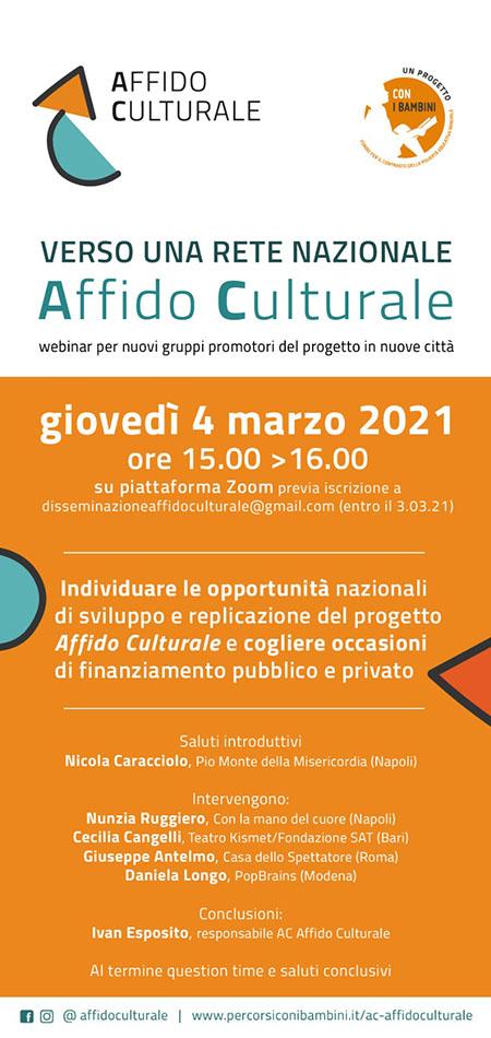 Webinar 'Verso una rete nazionale Affido Culturale'