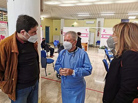Alessio D'Amato in un Centro Vaccinale ASL di Frosinone