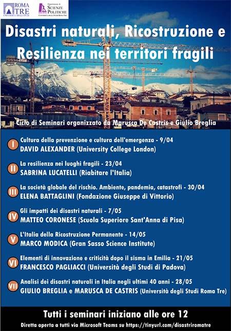 Disastri naturali, Ricostruzione e Resilienza nei territori fragili