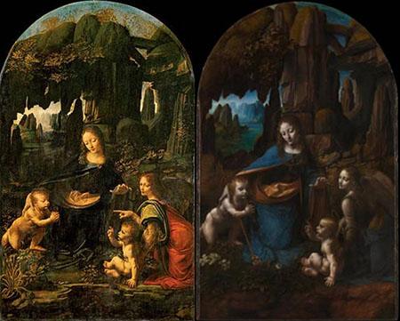 Vergine delle Rocce di Leonardo al Louvre e Vergine delle Rocce alla National Gallery