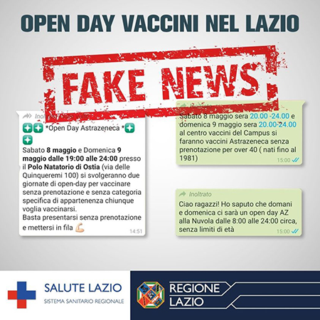 Open Day vaccini nel Lazio fake news
