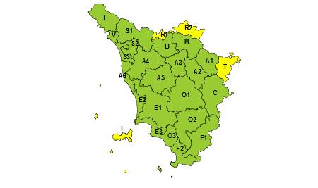 Regione Toscana codice giallo 5 maggio 2021