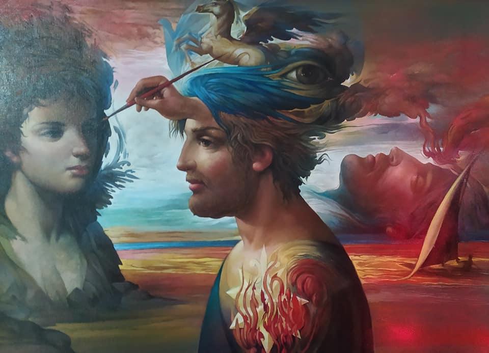 Vincenzo Cacace, Eidetiche riduzioni e sogno, olio su tela, cm. 70x50