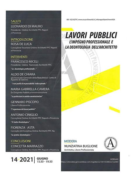 Webinar 'Lavori pubblici: l'impegno professionale e la deontologia dell'architetto'