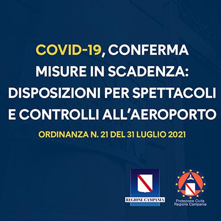 Covid-19 Campania, Ordinanza n.21 del 31 luglio 2021