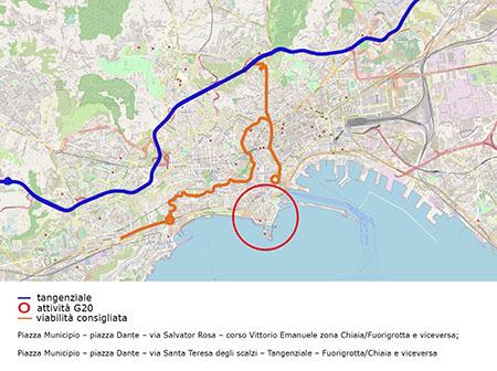 G20 a Napoli, mappa dei percorsi alternativi
