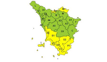 Toscana, codice giallo 24 luglio 2021