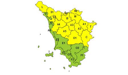 Toscana, codice giallo 26 luglio 2021