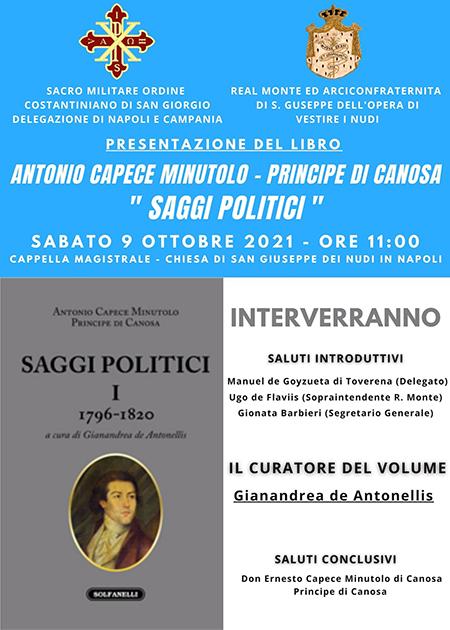 'Antonio Capece Minutolo Principe di Canosa - Saggi Politici I 1796 - 1820
