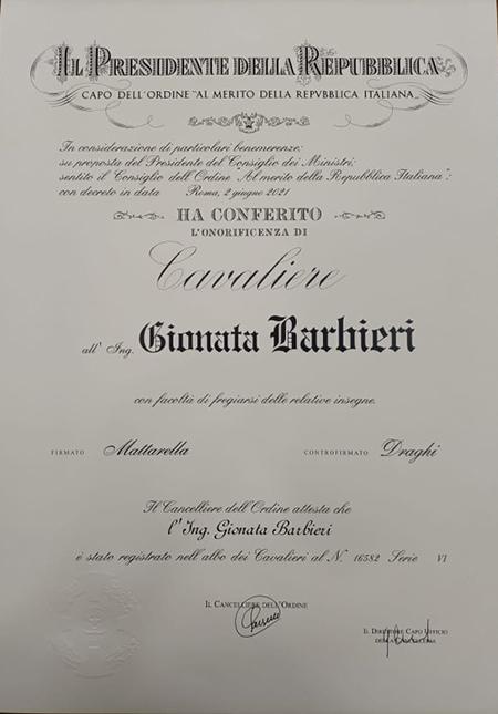 Ing. Gionata Barbieri Cavaliere della Repubblica Italiana