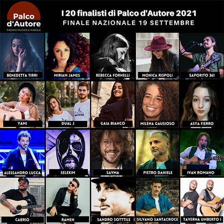 Palco d'Autore 2021, i 20 artisti per la finale nazionale